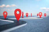 istock Road way location Infographic with pin pointers. Road way with red pointers. Road way on cloudy blue sky background. 3D illustration 1023085362