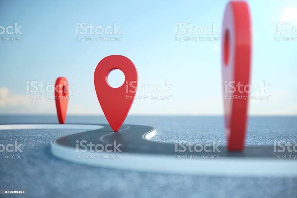 Road way location Infographic with pin pointers. Road way with red pointers. Road way on cloudy blue sky background. 3D illustration royalty-free stock photo