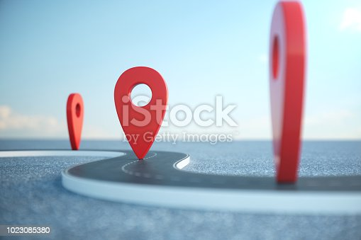 istock Road way location Infographic with pin pointers. Road way with red pointers. Road way on cloudy blue sky background. 3D illustration 1023085380