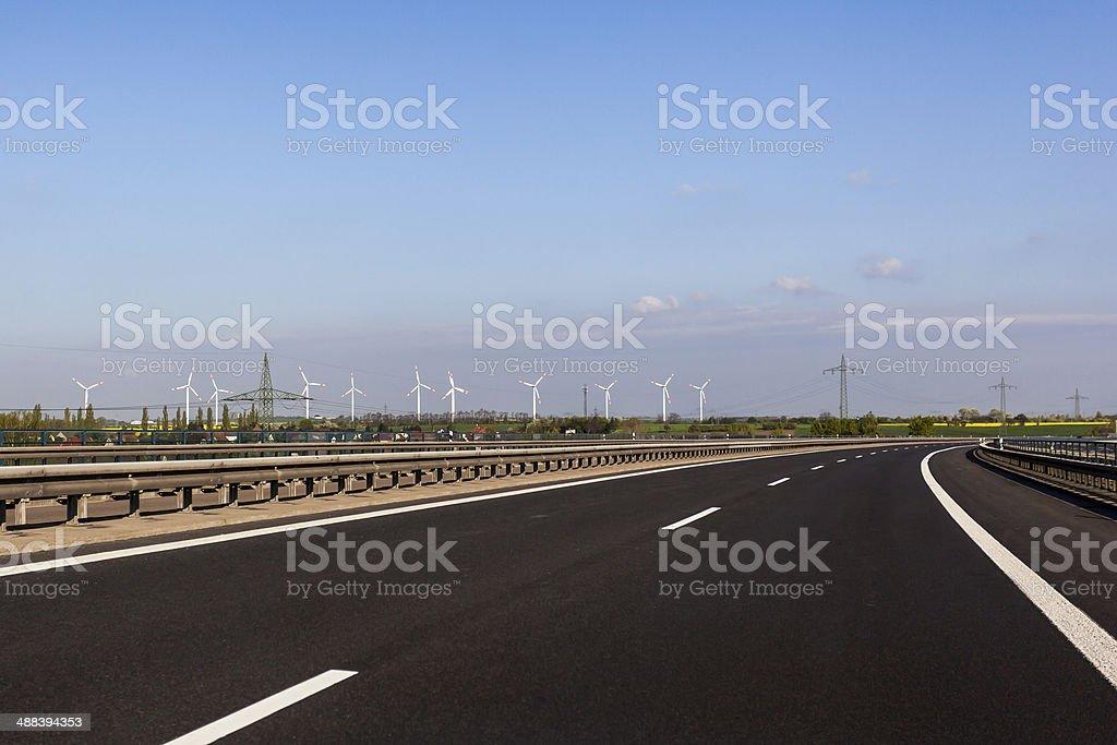 road whit windmillpark royalty-free stock photo