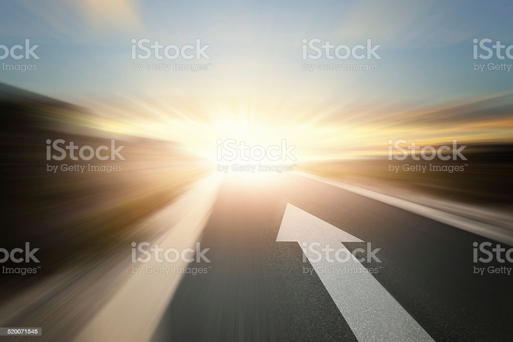 Road with arrow stock photo