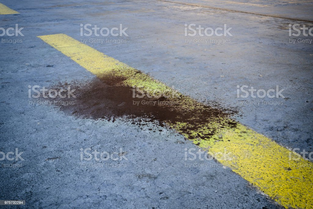 Road with bloodstain after an accident - 3D rendering stock photo