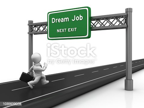 Road with Business Character Running and Dream Job Highway Sign - White Background - 3D Rendering