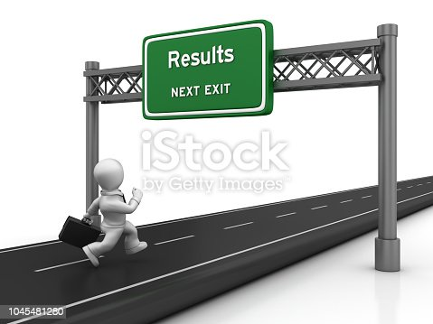 Road with Business Character Running and Results Highway Sign - White Background - 3D Rendering