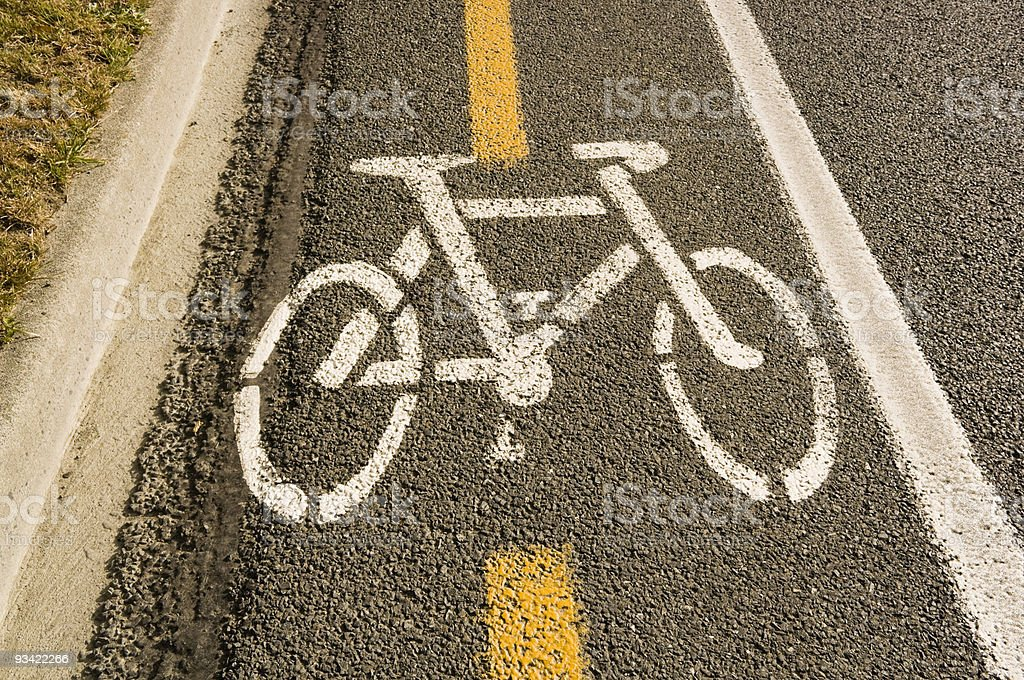 A road with dedicated bicycle lane stock photo