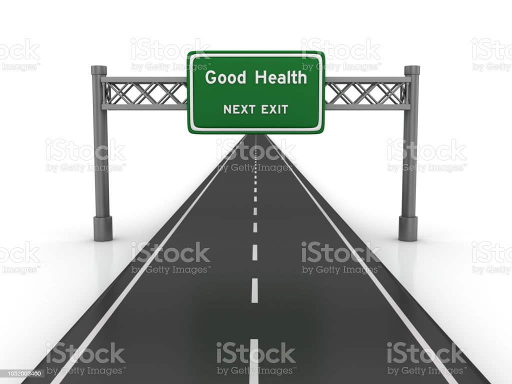 Road With Good Health Highway Sign 3d Rendering Stock Photo