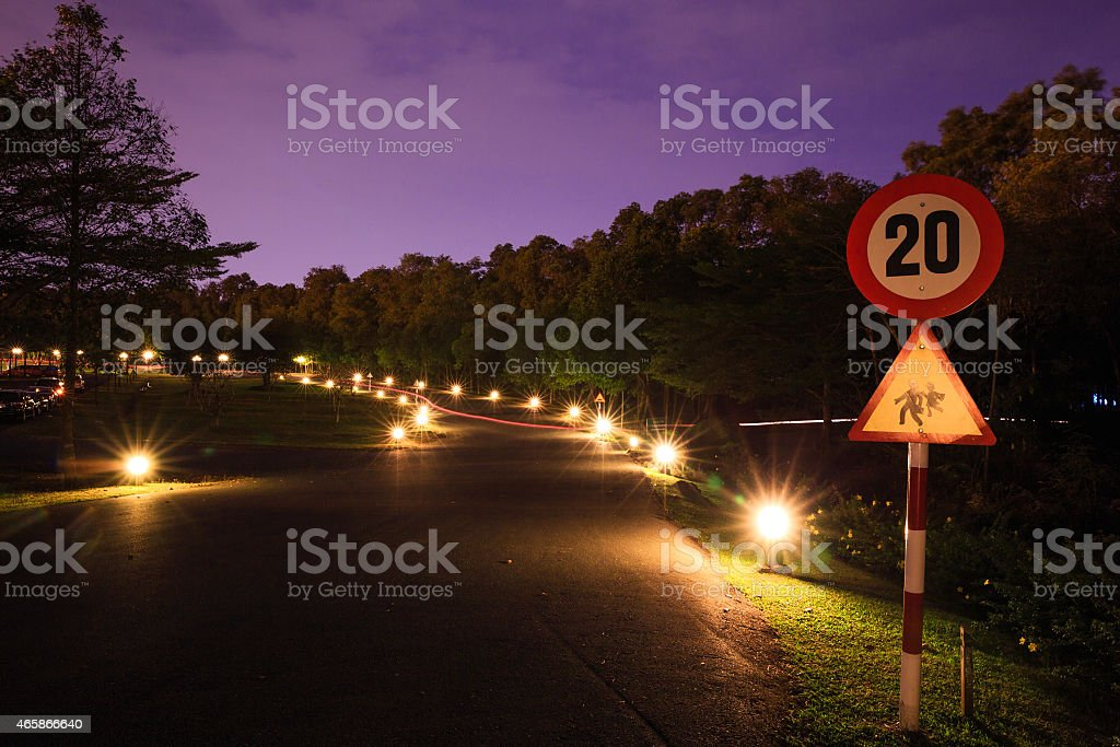 Road with in night footlights stock photo