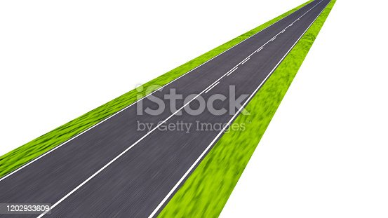 road with motion blur, 3d render, isolated on white