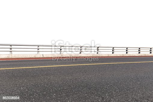 road and railings isolated on white with clipping path