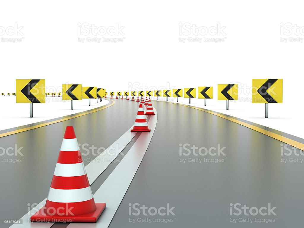 Road with signs and traffic cones royalty-free stock photo