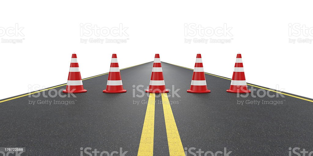 Road with traffic cones royalty-free stock photo