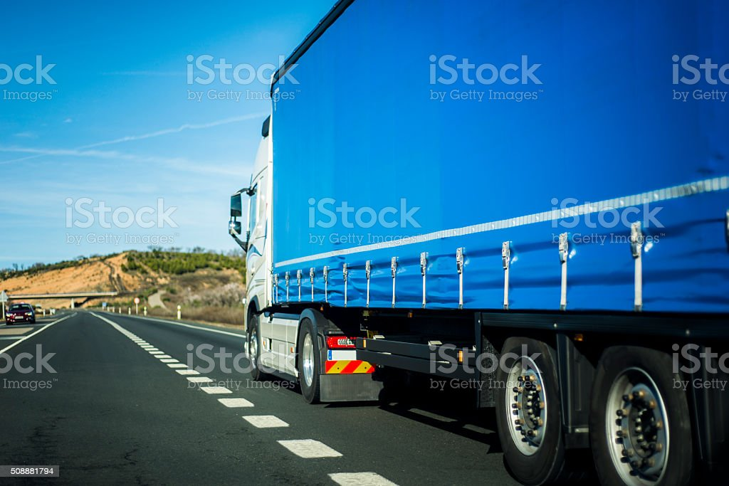 Road with truck stock photo