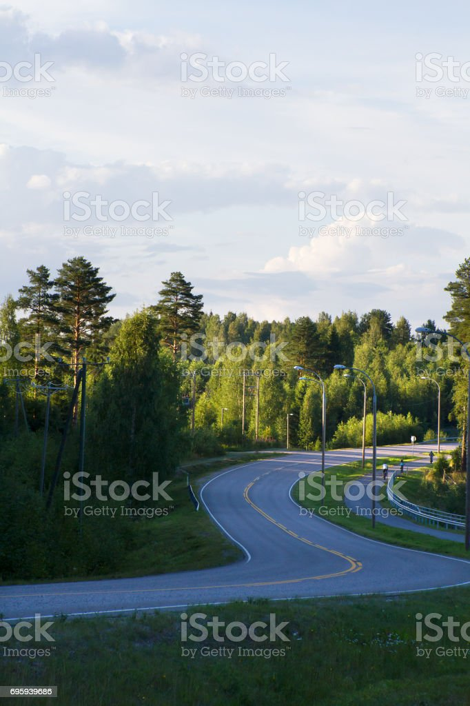 Road with yellow line through forest countryside стоковое фото