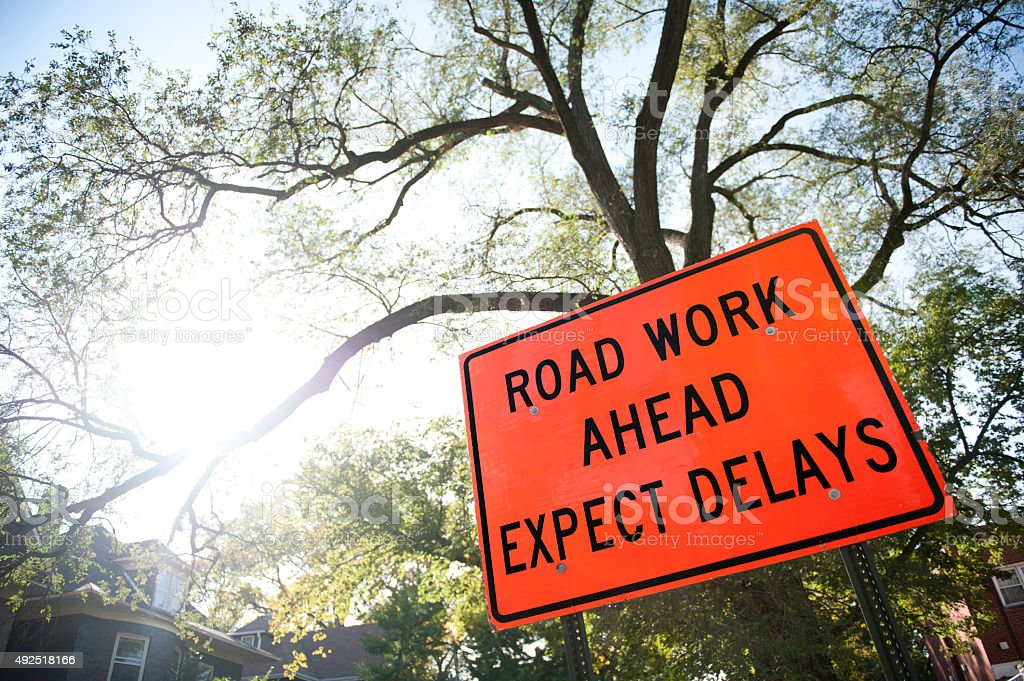 Road work ahead / Road sign (Click for more) stock photo