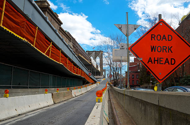 'Road Work Ahead' Sign, Brooklyn Bridge Ramp, Lower Manhattan, NYC stock photo