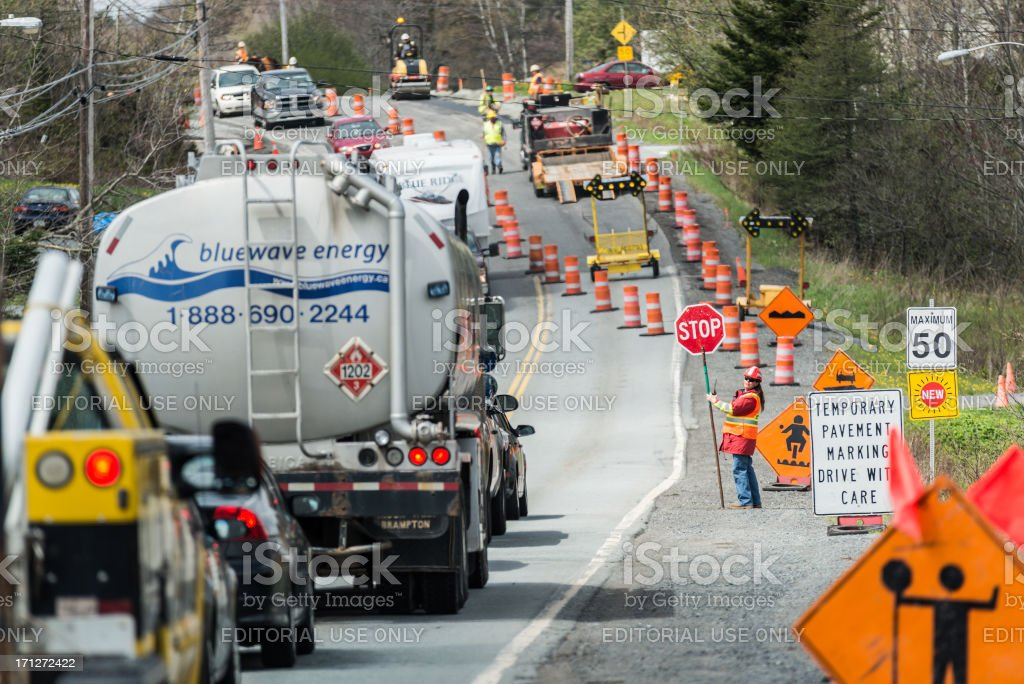 Road work in Hammonds Plains Road in Canada stock photo