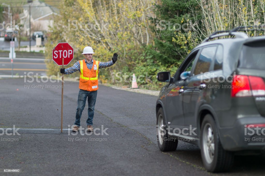 Road Work Safety stock photo