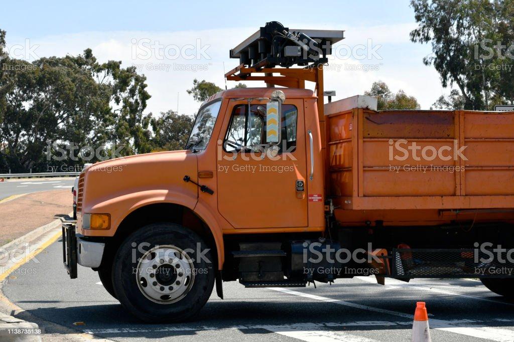 Road Work Truck Blocking Freeway On-Ramp stock photo