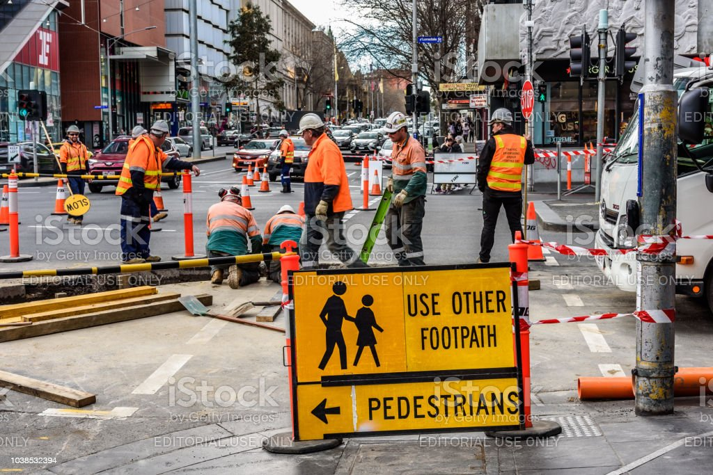 Road workers stock photo
