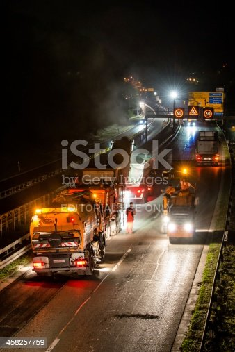 istock road works, removal of old asphalt pavement at night 458257759