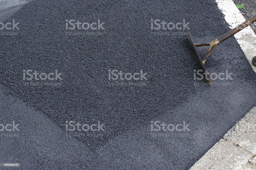 road works tarmac asphalt stock photo