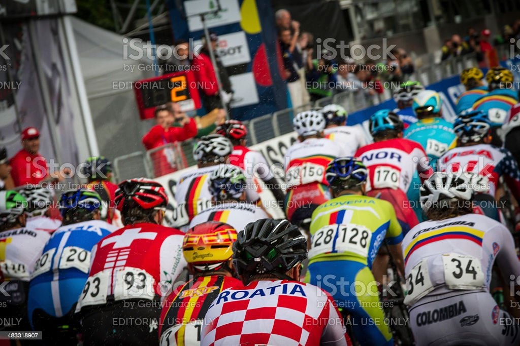 2013 UCI Road World Championship. Florence. 2 laps to go royalty-free stock photo