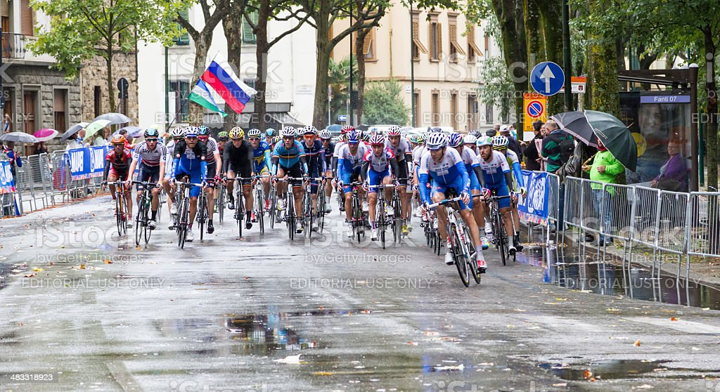 2013 UCI Road World Championship. The group in Florence. stock photo