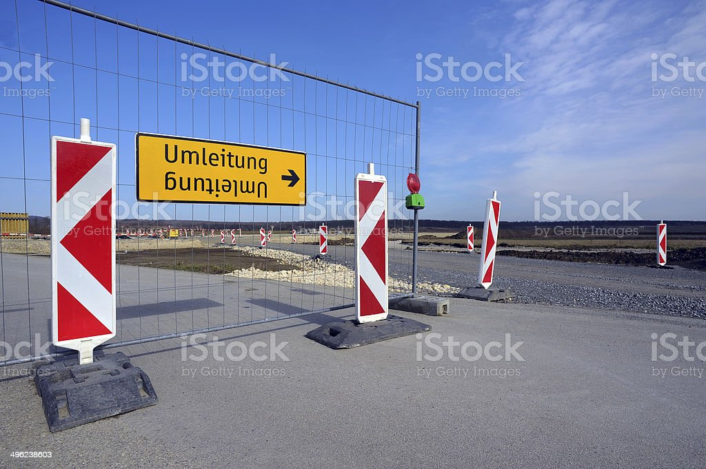 Straßensperre und Umleitung – Foto
