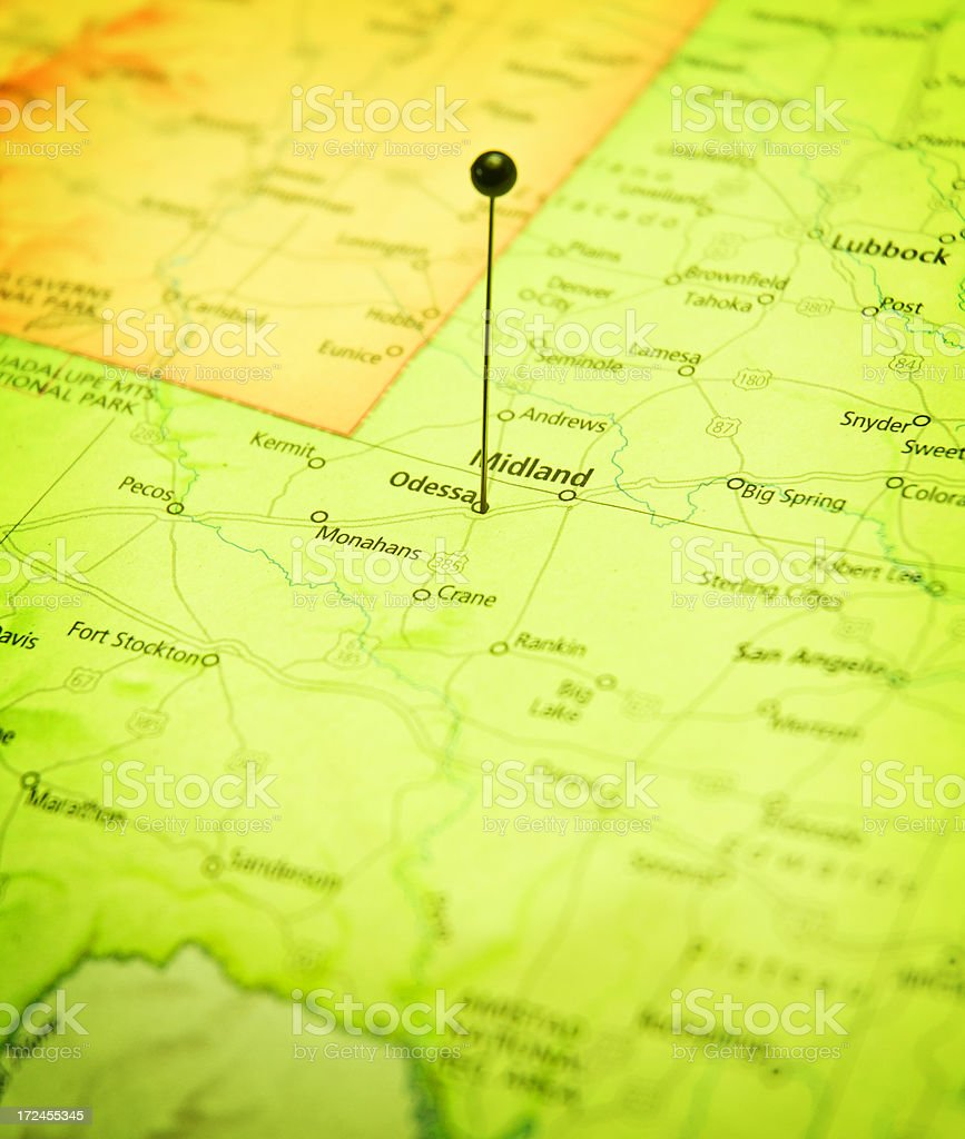 Roadmap Of Odessa And Midland Texas Macro stock photo iStock