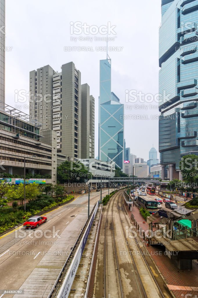 Roads and buildings in central Hongkong stock photo