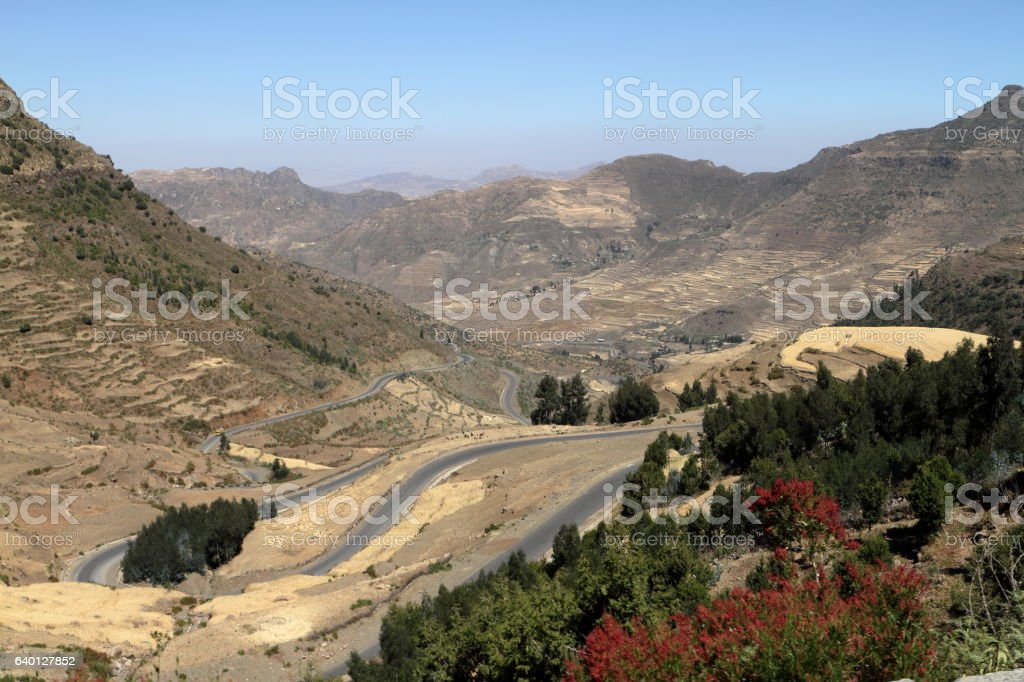 Roads and serpentines through the mountains of Ethiopia stock photo