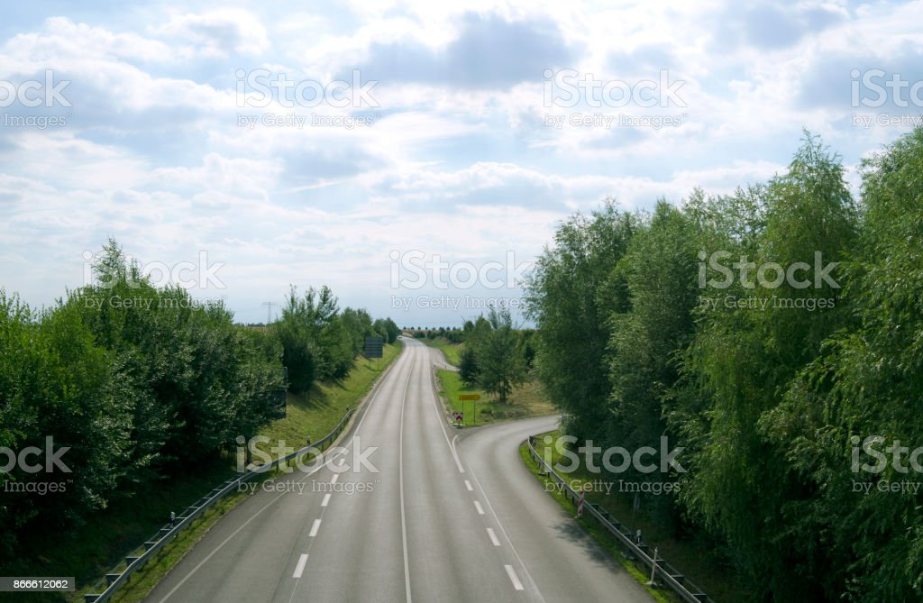 Roads: Exit from a German federal road in Eastern Thuringia stock photo