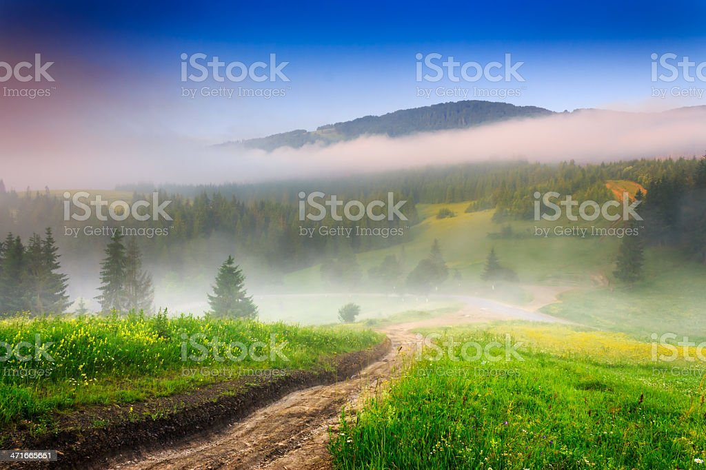 roads in fogy mountain royalty-free stock photo