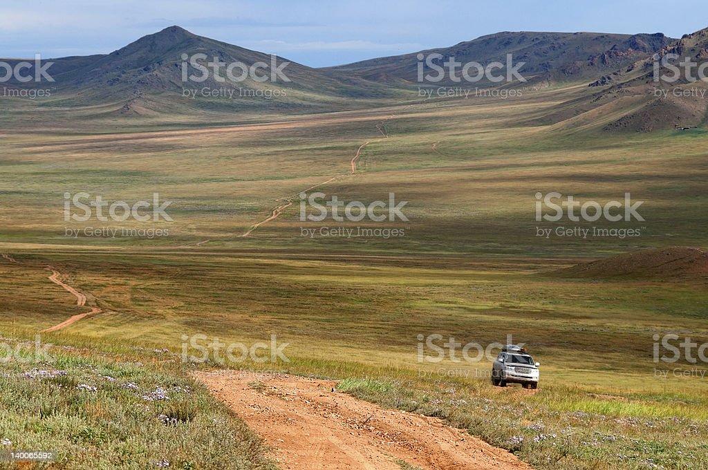 Roads in Mongolia stock photo