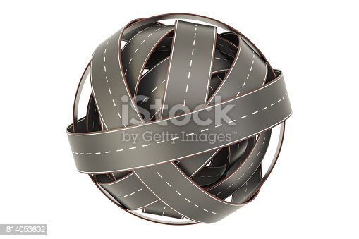 roads knot, tangled ball of roads. 3D rendering isolated on white background