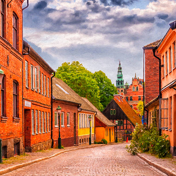 roads of lund digital painting - lund stock photos and pictures