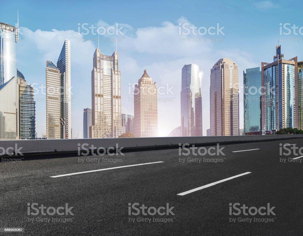 Roads, roads, and skyline of Shanghai stock photo