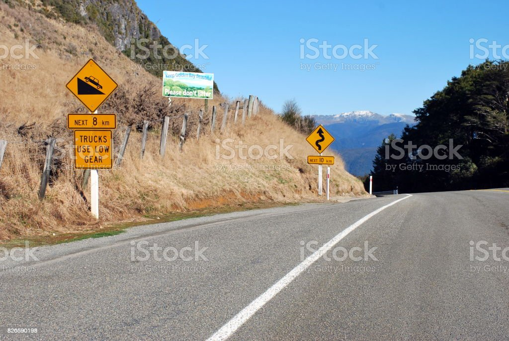 Road-Scape, Tasman Region, New Zealand stock photo