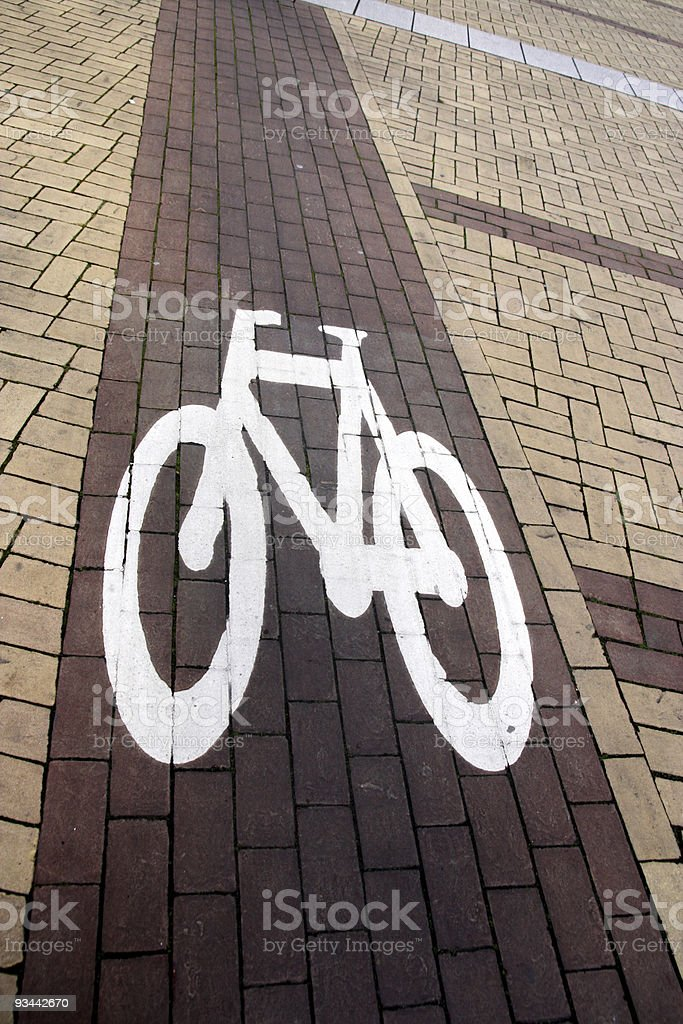 Roadside Bicycle Lane Detail royalty-free stock photo