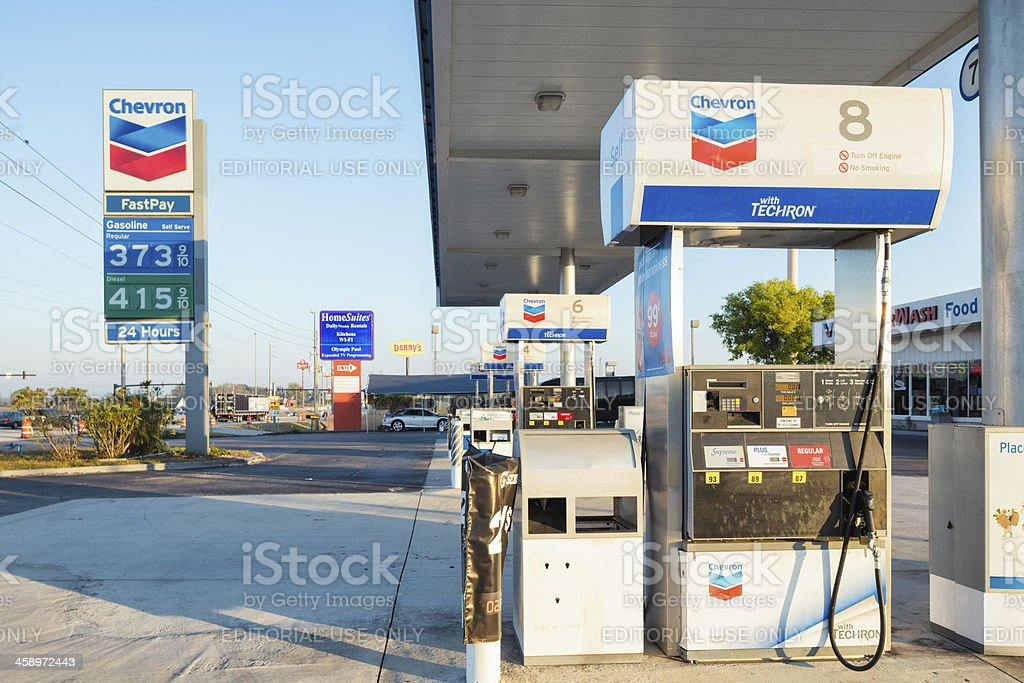 Roadside Chevron refueling station with sign stock photo