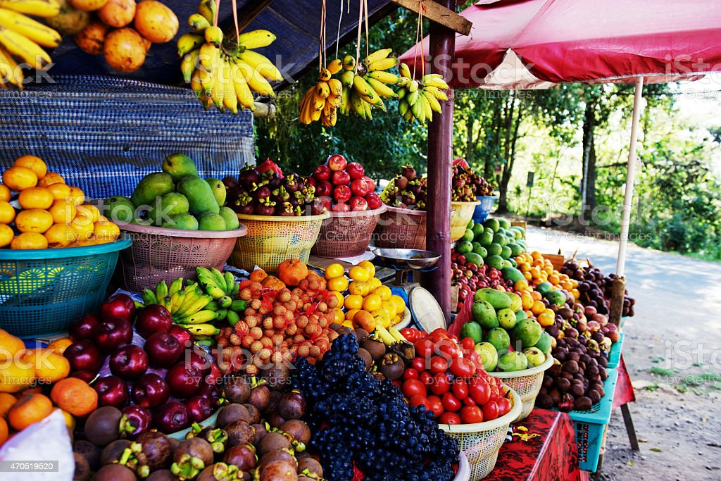 Roadside fruit market in Bali,Indonesia stock photo
