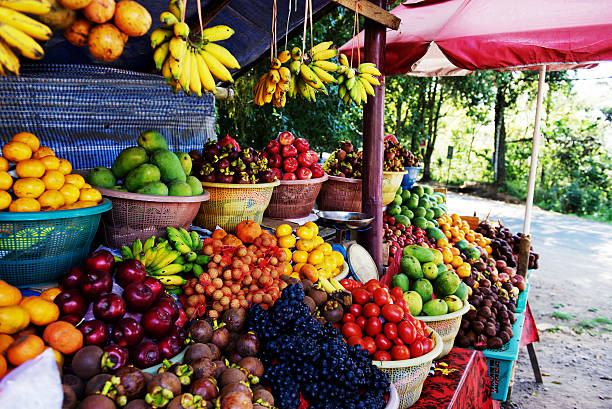 Roadside fruit market in Bali,Indonesia stock photo