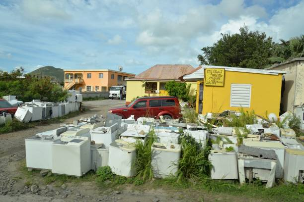 Roadside Junkyard in Saint Maarten stock photo