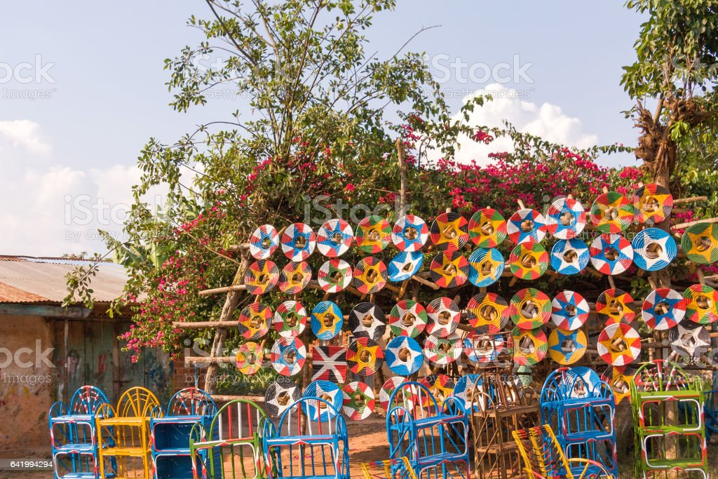 Roadside marketplace with handmade traditional plait collars stock photo
