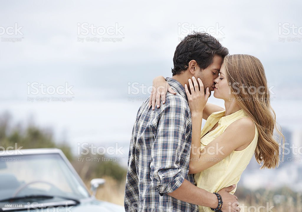 Roadside romance stock photo