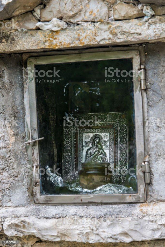 Roadside shrine, Zagori, Pindus mountains, Vikos Gorge, Greece stock photo