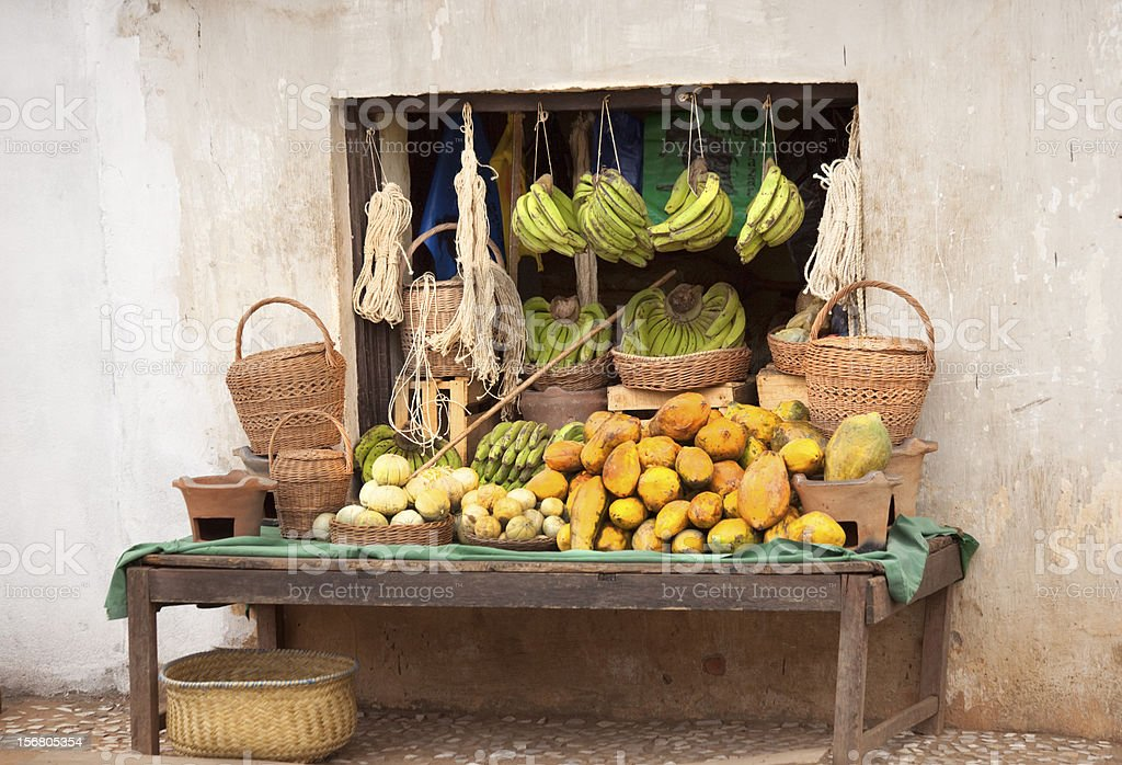 Roadside Stall Madagascar stock photo