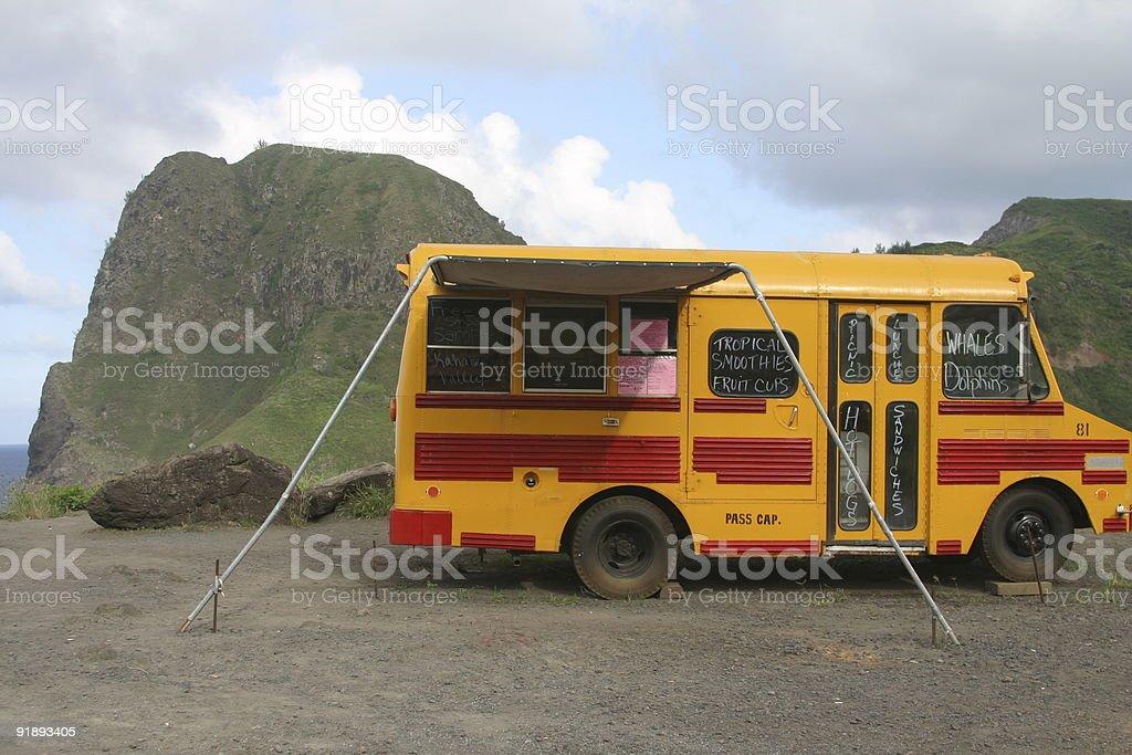 Roadside Stand School Bus stock photo