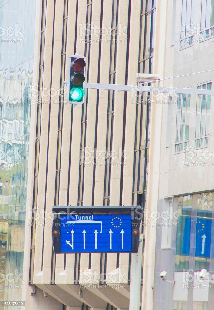 Roadsign directing towards the European Commission Headquarters stock photo