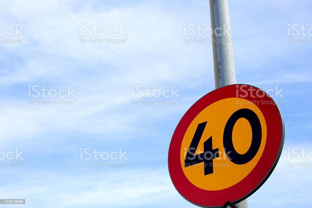 Roadsign speedlimit stock photo